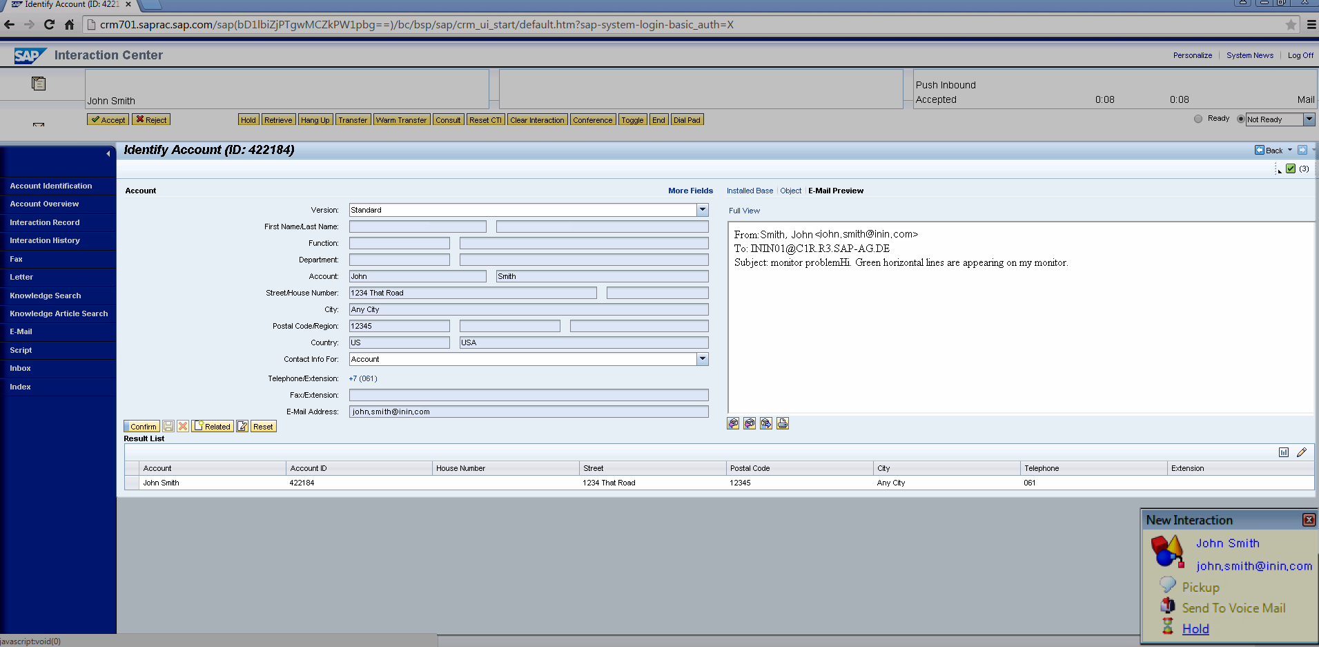 SAP CRM Integration Technical Reference - Screen pop for